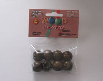 Pepperell Round Wood Beads 20mm 8 Pack Walnut