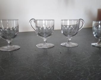 Set of 4 Victorian or late Georgian glasses with delicate engraving