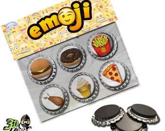 Food Emoji Magnets   Bottle Cap Magnets   Party Favors   Gift