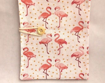 Health booklet protection cover - Fabric eco-friendly and organic - Flamingo