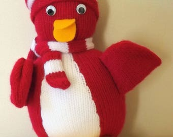 Knitted Toy Penguin with Hat and Scarf