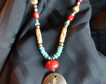 Wooden Necklace with Coral and Turquoise