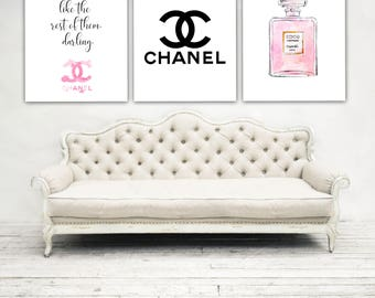 Chanel home decor,Chanel quotes,Chanel prints,Chanel logo,Coco Chanel prints,Chanel posters,fashion art,Chanel No 5 bottle,set of 3,makeup