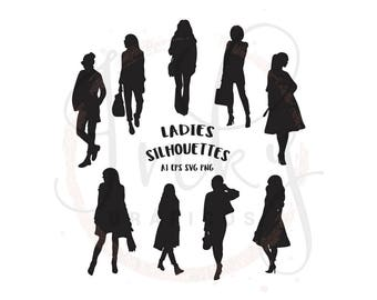 Lady Silhouette, Girl Silhouette, Fashion Lady Silhouette, Woman Silhouette vector files