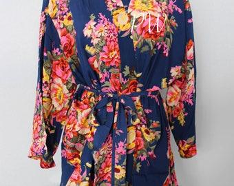 Floral cotton bridesmaid robe, floral cotton robe, large floral cotton bridesmaid robe, maid of honor gift, bridesmaid wedding party gift