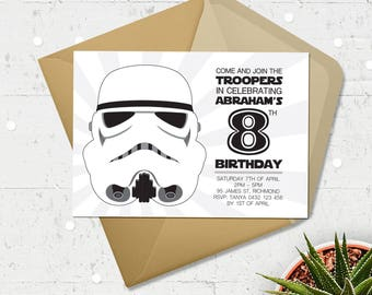 Star Wars Invitation Printable | Birthday | Invitations | Bespoke | Custom | Downloadable | Stormtrooper | Party | Invite |