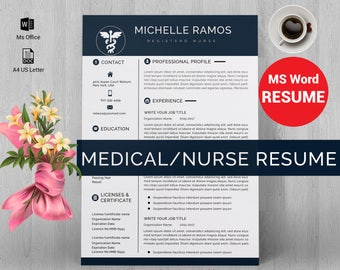 Nurse/medical ms word resume template, resume template instant download, CV, CV template, Cover letter, ms word resume, nurse edition