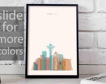 Seattle art Seattle print Seattle decor Seattle poster Seattle Skyline Space Needle poster Seattle wall art Gift poster