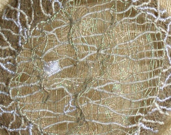 Panel textile art embroidered embossed - Moon wire