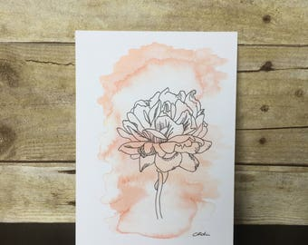 Ink and Watercolor Floral PRINT