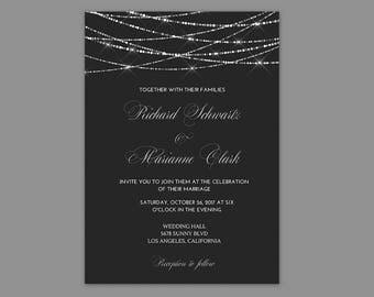 Wedding Invitations Black and Silver, Wedding Invitation Black, Wedding Invitation Printable, Black and Silver Wedding Invitation Templates