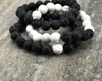 Diffuser Bracelets, Lava Bead Bracelets, Howlite Bracelets, Stackable Bracelets, Lava Beads, Howlite Beads, Lava Diffuser Bracelet,