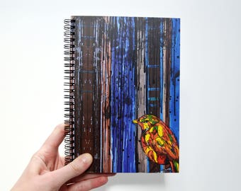 Blank journal Art journal  Bird painting White pen  Notebook sketchbook Cute journal  Oil original print Notebook black paper Sketchbook a5