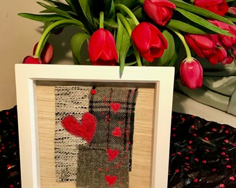 Red Hearts on Tweed Textile Art