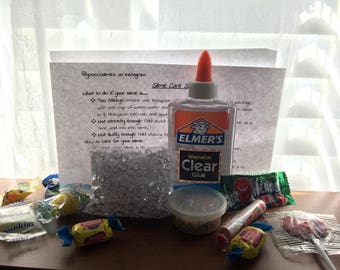 fishbowl slime kit!!! comes with FREE candy!!!!! do it yourself instagram fishbowl slime with instructions-- CHEAP shipping
