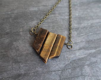 Genuine Tigers Eye Wire Wrap Necklace, Bohemian, Protective Stone, Gift