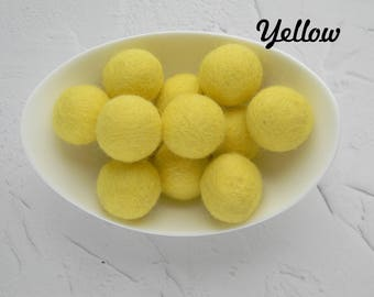 25 mm Yellow Felt Balls 2.5 cm Wool Felt Balls Wool Pom Poms Felted Balls Brigt Yellow Felt Balls DIY Necklace  DIY Garland  DIY Mobile