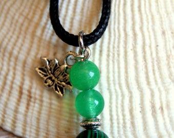 minimalist lotus pendant malachite beads and aventurine