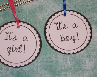 up to 20 tags it's a boy girl baby shower tag TAGS personalized baby shower favor tag  gender reveal label