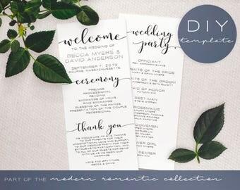 Wedding Program Template - Modern Romantic Collection - Wedding Program - DIY Printable Black and White