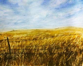 barn landscape - barn paintings - yellow field - barn wall decor - barn wall art - barn wall decal - barn artwork - landscape artwork