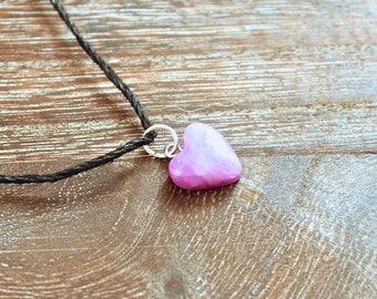 Amethyst Purple Clay Heart With Black Hemp Cord Necklace