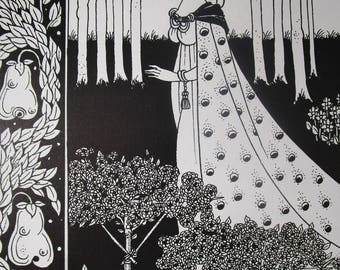 Art Nouveau, Aubrey Beardsley, Aubrey Beardsley print, vintage, vintage print, home decor, wall decor