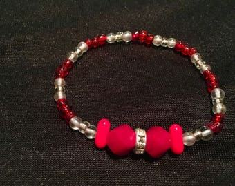 S/M Red and clear bracelet