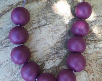 Purple Wooden Bead Necklace