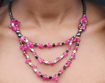 Handmade 3 chain Ruby necklace