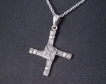 Sterling Silver St. Brigid's Cross Necklace with chain  Irish jewelry Celtic necklace