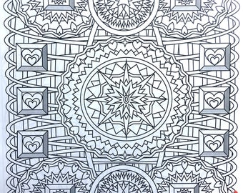 Stars and Hearts,Adult Coloring Page, Intricate Design, Geometric Repeating Patterns, Symmetrical design,Instant Download, Grownup coloring