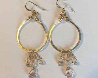 Swarovski Crystal Hammered Dangle Hoop Earrings