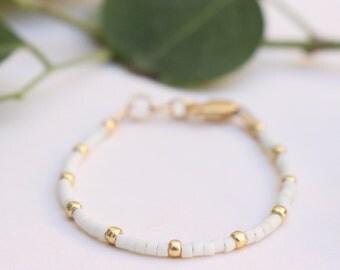 Dainty Bracelet • Cream Baby Bracelet • Cream Toddler Bracelet • Stackable Baby Bracelet • Stackable Toddler Bracelet • Baby Shower Gift