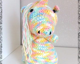 Unicorn Rainbow crocheted amigurumi plush