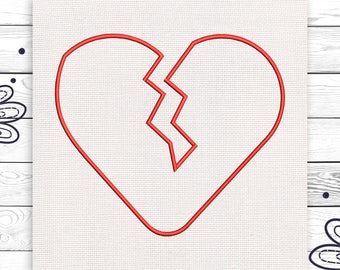 Broken heart embroidery Tumblr Discount 10% Digital machine embroidery design 4 sizes INSTANT DOWNLOAD EE5043