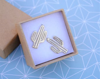 Gold cactus earrings - Cactus jewelry - Gold earrings plant - Desert jewelry - Hot plant - Gift for girl