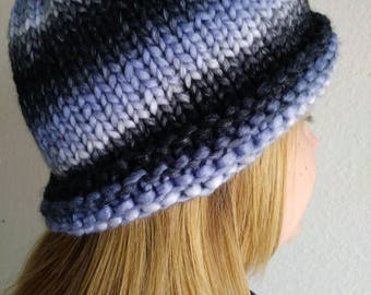 Blue Stripes Hand Knit Beanie Hat