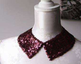 Wine red collar necklace with sequins burgundy pointed shape detachable accessories for women removeable peter pan collar sequined collar