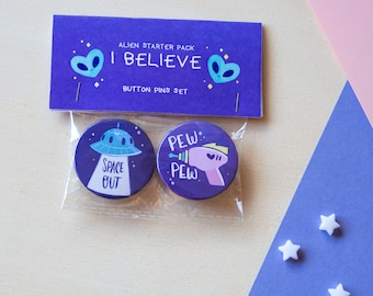 I believe • button pins set for aliens believers and universe lovers