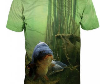 Carp Fish Fishing Mens T-shirt Cool 3D Sublimation Printed Camouflage