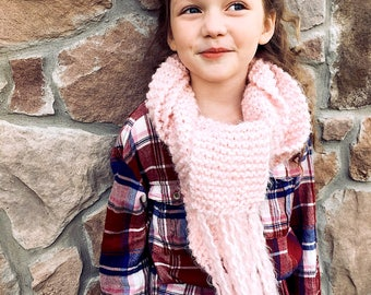 Adult Mid-length or Kids Full Soft Pink Knit Scarf