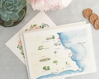 Custom Wedding Invitation Map- Watercolor Map with Calligraphy-INTRODUCTION PRICE