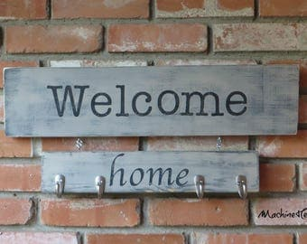 Wood Sign, Wooden sign, Welcome Home Sign, Sign with hooks, hooks,