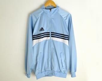 Adidas jacket M Vintage Adidas jacket Adidas windbreaker 3 stripes jacket Adidas jacket men Blue jacket Retro jacket Vintage jacket men M