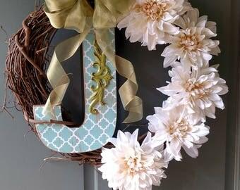 Custom letter J wreath.