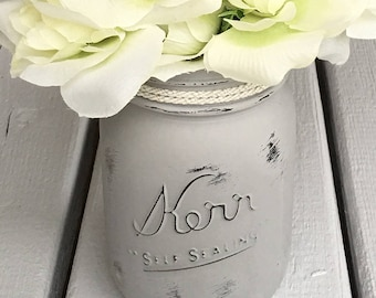 Shabby Chic Aged Gray Chalked Painted Mason Jar with Creme Golden Ribbon