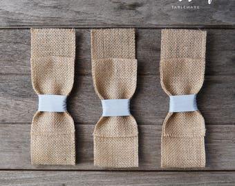 Burlap Silverware Pockets (12, Light Blue) - Burlap Cutlery Holders - Burlap Cutlery Pockets - Burlap Wedding Decor - Burlap Cutlery sleeves