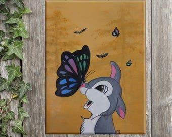 BUNNY Wall Art,  Bambi THUMPER Nursery decor, Bambi inspired wall decor, Nursery wall art, baby bunny PAINTING