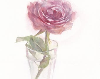 Original watercolor painting / Pink rose in a glass vase  on white background / Flower art / Floral wall art / Home decor / Flower charm